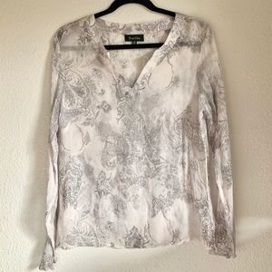 True Grit 100% silk sheer popover blouse top